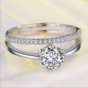 New Adjustable Women AAA+CZ Crystal Hearts Ring